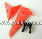 LH1101-Helicopter-parts-29 Horizontal wing & Vertical wing & Horizontal fixture-(Red)