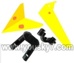 LH1101-Helicopter-parts-31 Horizontal wing & Vertical wing & 2pcs fixtures-(Yellow)