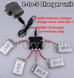 XK A150 Parts-Upgrade 1-to-5 charger and balance charger & USB-TO-socket Conversion plug(Not include the 5 battery)