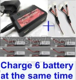 XK A430 Parts-11-07 Parts- Upgrade charger and balance chager & 2pcs 1-To-3 convert wire & 6pcs battery-Total can charge 6x battery and the same time