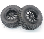 DHK Hunter Parts- 8135-001-01 Tire complete,Whole wheel unit(Black rims)-2pcs-Can also be used for HuanQi 727