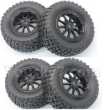 DHK Hunter Parts- 8135-001-02 Tire complete,Whole wheel unit(Black rims)-4pcs-Can also be used for HuanQi 727
