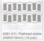 DHK Hunter Parts- 8381-011 Flathead screw(KM3x10mm)-(16pcs)