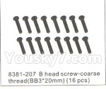 DHK Hunter Parts- 8381-207 B head screw-Coarse thread(BB3x20)-16pcs