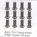 DHK Hunter Parts- 8381-724 T head DHK 8384 parts Screw(TM4X12)-16pcs