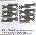 DHK Hunter Parts- 8381-726 B head screw-Coarse thread(BB3x18mm)-16pcs
