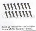 DHK Zombie Parts-8381-207 B head Screw-Coarse thread(BB 3x20mm)-16pcs