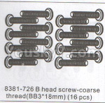 DHK Zombie Parts-8381-726 B head screw-Coarse thread(BB3x18mm)-16pcs