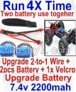FeiYue FY-01 FY01 Parts-35-07 Upgrade 2-to-1 wire and Velcro & 2pcs Battery-Two battery can be used together,Run 2x Time than usual