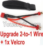 FeiYue FY-02 Spare Parts-35-05 Upgrade 2-to-1 wire and Velcro-Two battery can use together,Run 2x Time than usual