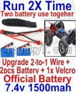 FeiYue FY-02 Spare Parts-35-06 Upgrade 2-to-1 wire and Velcro & 2pcs Battery-Two battery can Be used together,Run 2x Time than usual