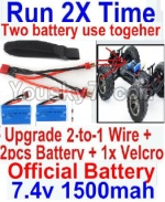 FeiYue FY03 Parts-35-06 Upgrade 2-to-1 wire and Velcro & 2pcs Battery-Two battery can Be used together,Run 2x Time than usual