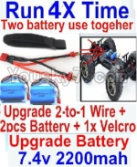 FeiYue FY03 Parts-35-07 Upgrade 2-to-1 wire and Velcro & 2pcs Battery-Two battery can be used together,Run 2x Time than usual