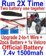 FeiYue FY-04 Spare Parts-35-06 Upgrade 2-to-1 wire and Velcro & 2pcs Battery-Two battery can Be used together,Run 2x Time than usual