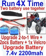 FeiYue FY-04 Spare Parts-35-07 Upgrade 2-to-1 wire and Velcro & 2pcs Battery-Two battery can be used together,Run 2x Time than usual