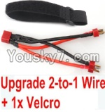 JJRC Q40 Parts-Upgrade 2-to-1 wire and Velcro-Two battery can use together,Run 2x Time than usual