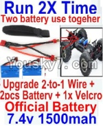 JJRC Q40 Parts-Upgrade 2-to-1 wire and Velcro & 2pcs Battery-Two battery can Be used together,Run 2x Time than usual