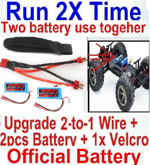 FeiYue FY-06 Spare Parts-35-06 Upgrade 2-to-1 wire and Velcro & 2pcs Battery-Two battery can Be used together,Run 2x Time than usual