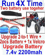 FeiYue FY-11 Parts- Upgrade 2-to-1 wire and Velcro & 2pcs Battery-Two battery can be used together,Run 2x Time than usual