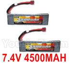 HG P602 Parts- Battery(2pcs)-7.4V 4500MAH 30C LiPo Battery Pack(2pcs)-QDBZ1001