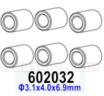 HG P602 Parts- Aluminum tube-602032,Total 6pcs,Φ3.1x4.0x6.9mm
