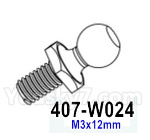 HG P602 Parts- Ball bolt M3-407-W024,M3x12mm