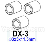 HG P602 Parts- Planetary gear sleeve-DX-3,Total 3pcs,Aluminum alloy-Φ3x5x11.5mm