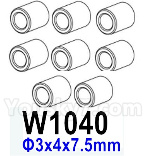 HG P602 Parts- Aluminum tube-W1040,Total 8pcs,Aluminum alloy-Φ3x4x7.5mm
