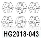 HG P602 Parts- Wheel fixed parts-HG2018-043,Total 6pcs