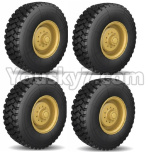 HG P801 P802 Parts-06 8ASS-01 US. Military truck Parts-Spare Wheel assembly(4 Set)-R110 All Terrain tyers-Yellow or Green color
