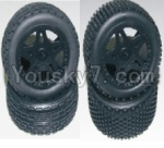 HaiBoXing 12811B Parts-12-01 12056 12039 Front and Rear Wheels Complete(4PCS)-(Include the Wheel hub and Tire lether)