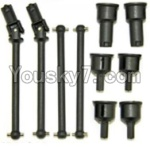 HaiBoXing 12813 Parts-05-01 12604R Front and Rear Drive Shaft Kit(Dog bones)-4pcs & Dogbone Cups(6pcs)