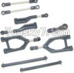 HaiBoXing 12882P Parts-03-01 12003 Front Upper or Rear Upper Swing Arm & Steering Linkage set & Servo Linkage Set & Servo shaft