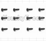 HaiBoXing 12882P Parts-62 S089 Round Head Self Tapping Screw(12pcs)-2.6X6mm