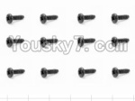HaiBoXing 12882P Parts-64 S100 Round Head Screw(12pcs)-2.5X8mm