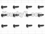HaiBoXing 12883P Parts-61 S071 Round Head Self Tapping Screw(12pcs)-3X6mm