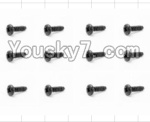 HaiBoXing 12883P Parts-70 S163 Round Head Self Tapping Screws(12pcs)-2.6X18mm