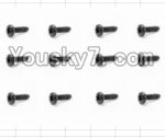 HaiBoXing 12883P Parts-73 S166 Round Head Self Tapping Screws(12pcs)-2.3X16mm