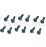 HBX HaiBoXing T6 Spare Parts-TS208 Hex. Recessed Pan Head Screws(TMH04x12mm)-12pcs
