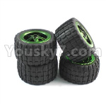 JJRC Q36 Parts-32-02 Q36 Whole wheel unit(4 set,include the Tire lether and Wheel hub)-For Q36 Car