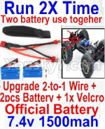 JJRC Q39 Spare Parts-35-06 Upgrade 2-to-1 wire and Velcro & 2pcs Battery-Two battery can Be used together,Run 2x Time than usual
