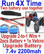 JJRC Q39 Spare Parts-35-07 Upgrade 2-to-1 wire and Velcro & 2pcs Battery-Two battery can be used together,Run 2x Time than usual