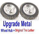 JJRC Q65 Parts-07 Upgrade Wheel(Include the Metal Wheel Hub and Original Tire Lether)-Silver Color-1 set