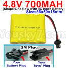 JJRC Q65 Parts-12 Upgrade 4.8V 700MAH Battery-With SM Plug-Size-56x50x15mm