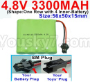 JJRC Q65 Parts-14 Upgrade Battery-4.8V 3300MAH Battery-With SM Plug)-Size-56x50x15mm