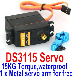 DHK Hunter Parts-DS3115 Servo-15KG Torque(1 x Metal servo arm for free)-waterproof