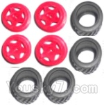 Subotech BG1503 Car Spare Parts-27-01 Wheel Hub and Trire Lether(Each 4pcs)-Red