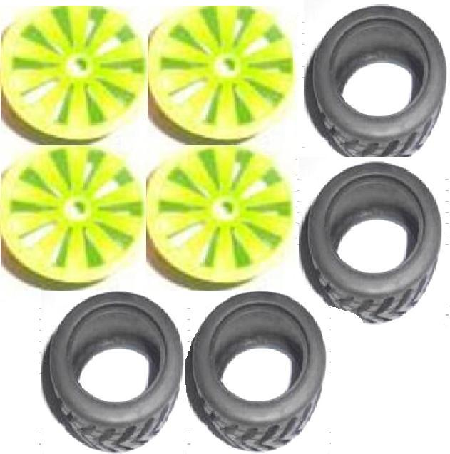 Subotech BG1505 Car Spare Parts-27-01 Big Wheel Hub and Trire Lether(Each 4pcs)-Green