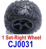Subotech BG1525 Parts-Right Wheels Complete. It includes 2 set Right Wheels and Right Tires. CJ0031.