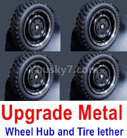 WPL C14 C-14 Hercules Parts-02-11 Upgrade Metal wheel hub and Tire lether(4 set)-Black